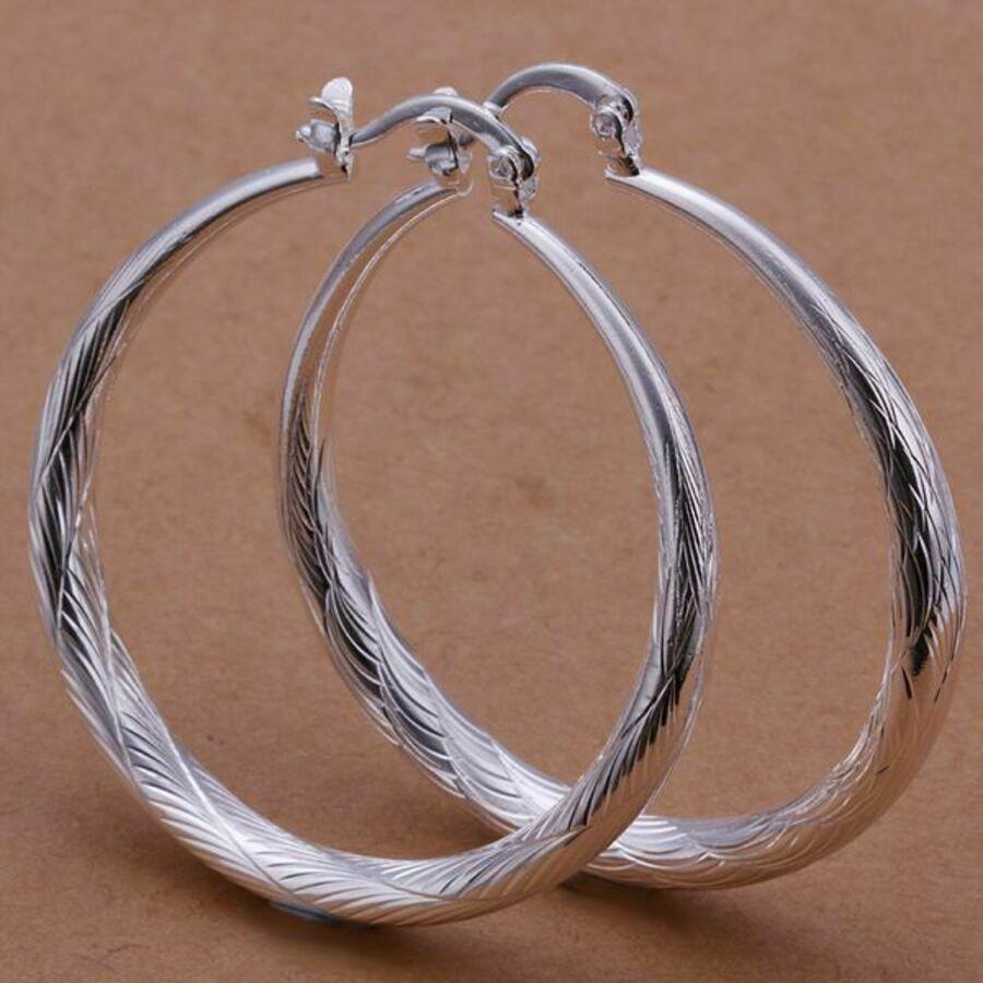 ad4ec967c2c1 925 Silber Creole Ohrringe Damen Hohe Qualität Schmuck 3,5 CM Ohrschmuck Neu