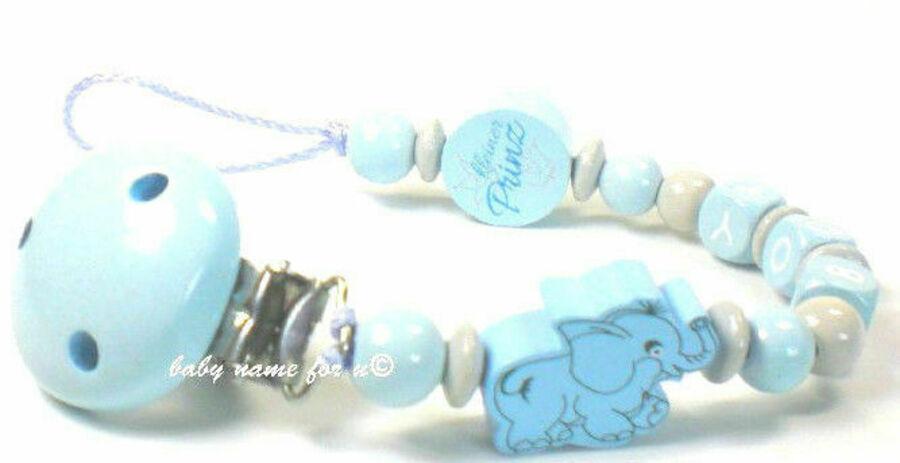 Schnullerkette mit Namen ♥ Junge Elefant kleiner Prinz ♥Babygeschenk blau grau