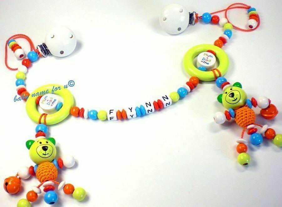 Kinderwagenkette mit Namen Teddy  Wagenkette  Taufgeschenke Spielkette Holz