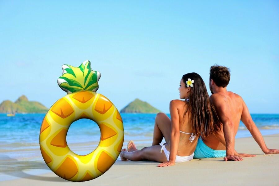 XXL Ananas aufblasbar Wasser Luftmatratze Schwimminsel Schwimmreifen Schwimmring Kinderbadespaß