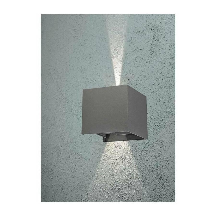 Details Zu Led Außenleuchte Trend Updown Eckig Grau 2x3w Außenlampe Anthrazit Ip 54