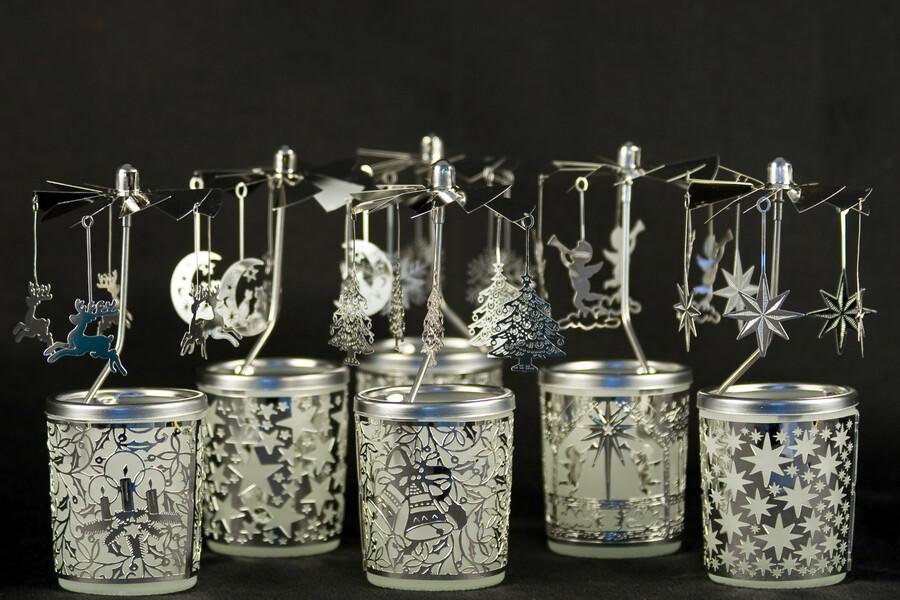 Glas Karussell Windlicht Mini Pyramide Teelichtglas Pferde Tischdeko Geschenk