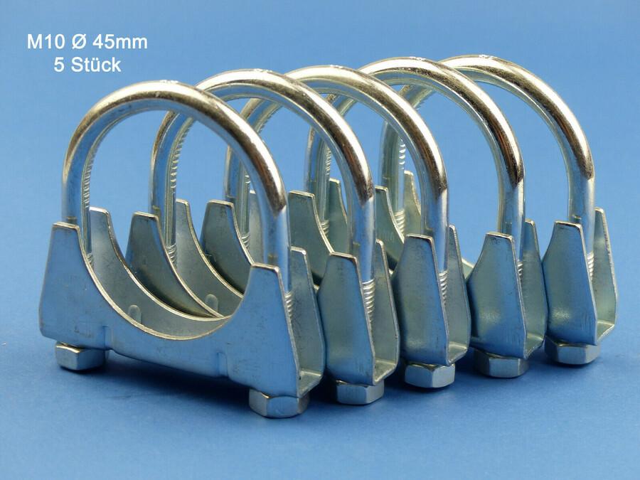 10St Auspuffschelle Rohr-Bügel Schelle U-Bolt Clamp M8 x 40 mm Flachbügelschelle