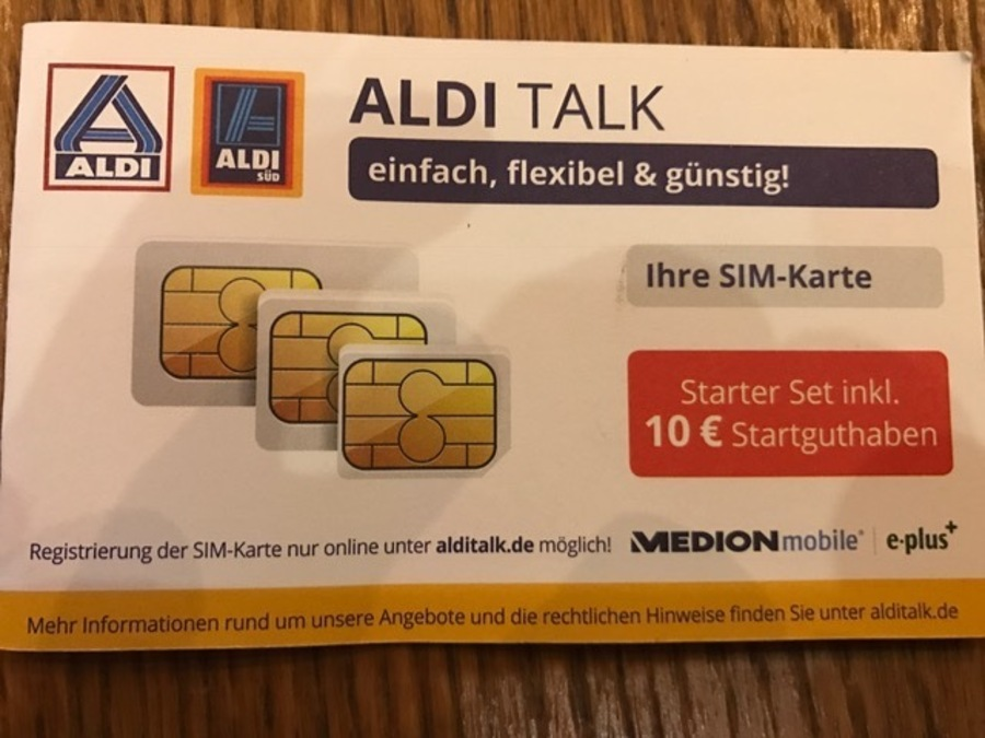 aldi talk starter set inkl triple sim karte mit 10. Black Bedroom Furniture Sets. Home Design Ideas
