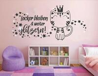 Wandtattoo Modernes Design Mädchen mit Katze in Pastellfarben