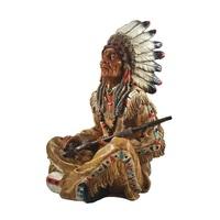 Indianerfigur Häuptling mit Friedenspfeife Figur Western Winnetou Apachen I42