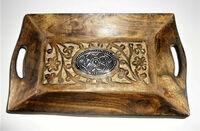 Holzkiste Kiste Truhe Tablett Holz braun silber Afrika Elefanten Ornamente
