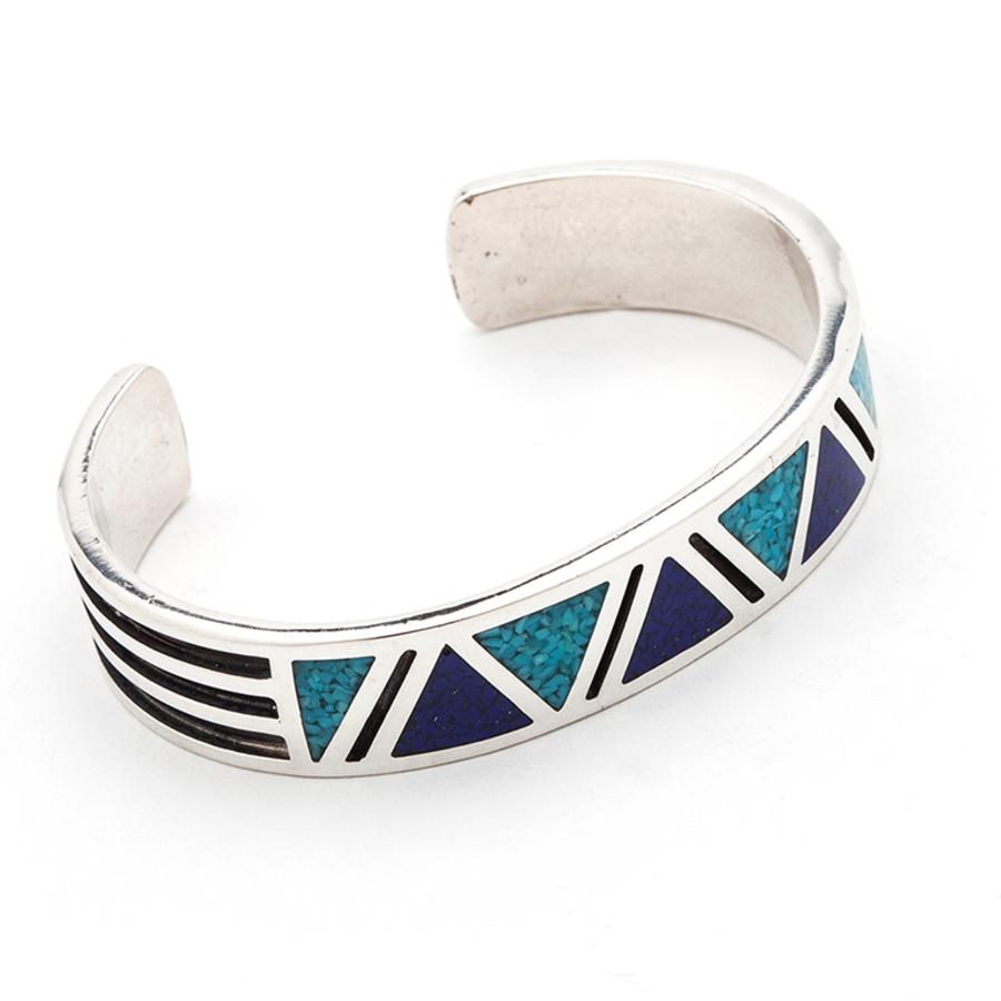 Indianerschmuck Armreif Türkis Chip Inlay Westernschmuck Navajo Style 925 Silber
