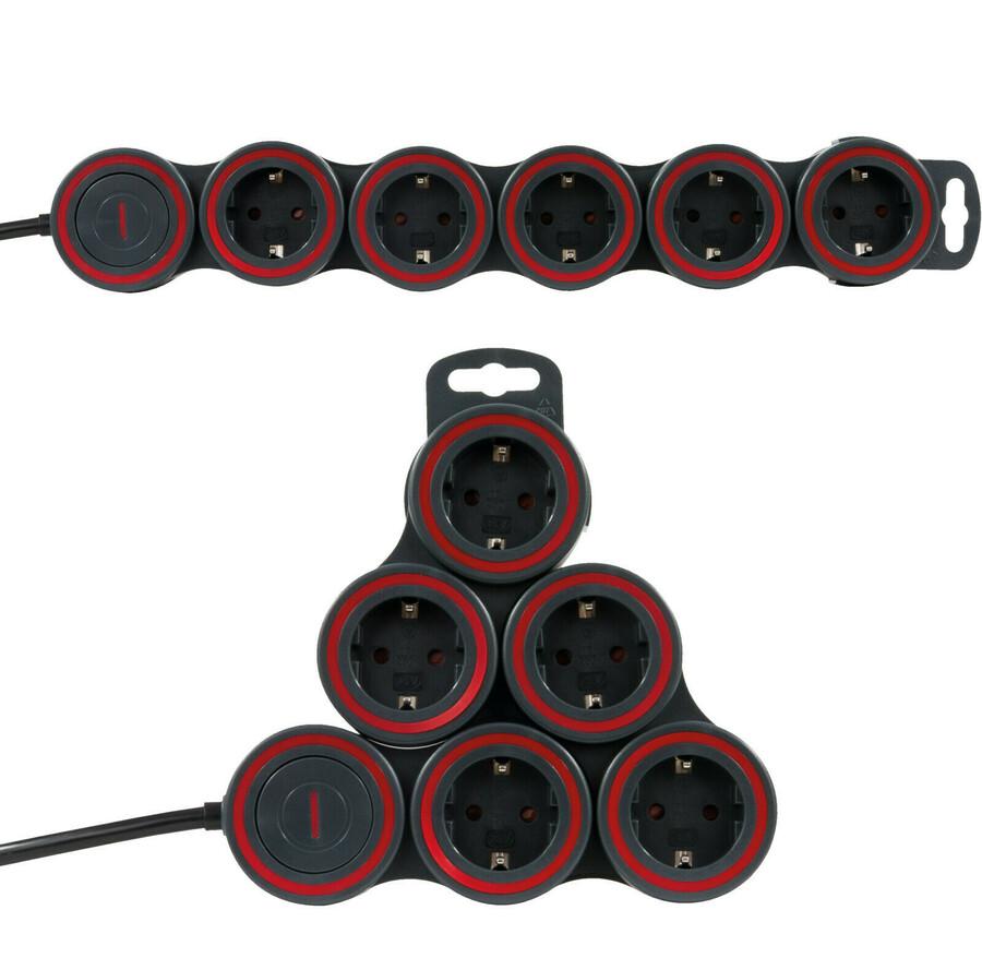 REV//düwi flexible Steckdosenleiste Supraflex 5-fach mit Schalter anthrazit-rot