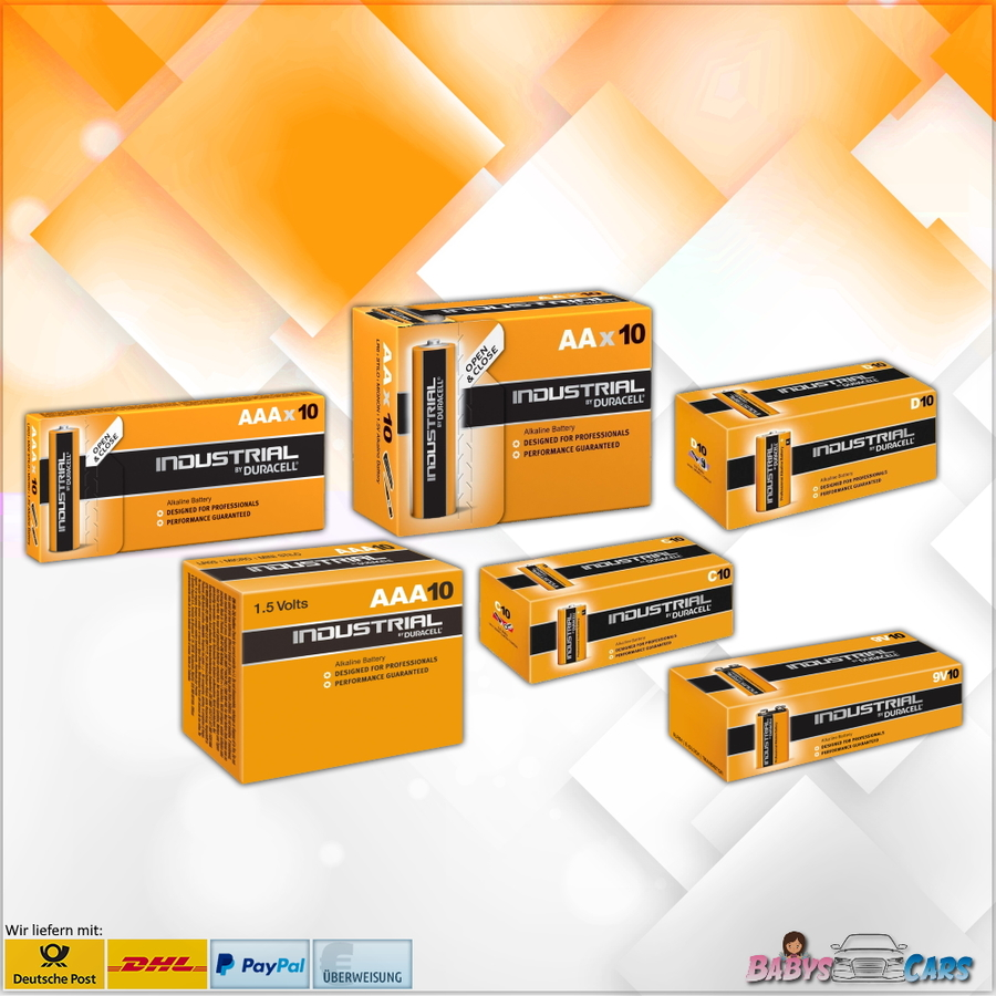 Duracell Industrial AA AAA C 9V E-Block LR03 LR6 Micro Mignon Baby