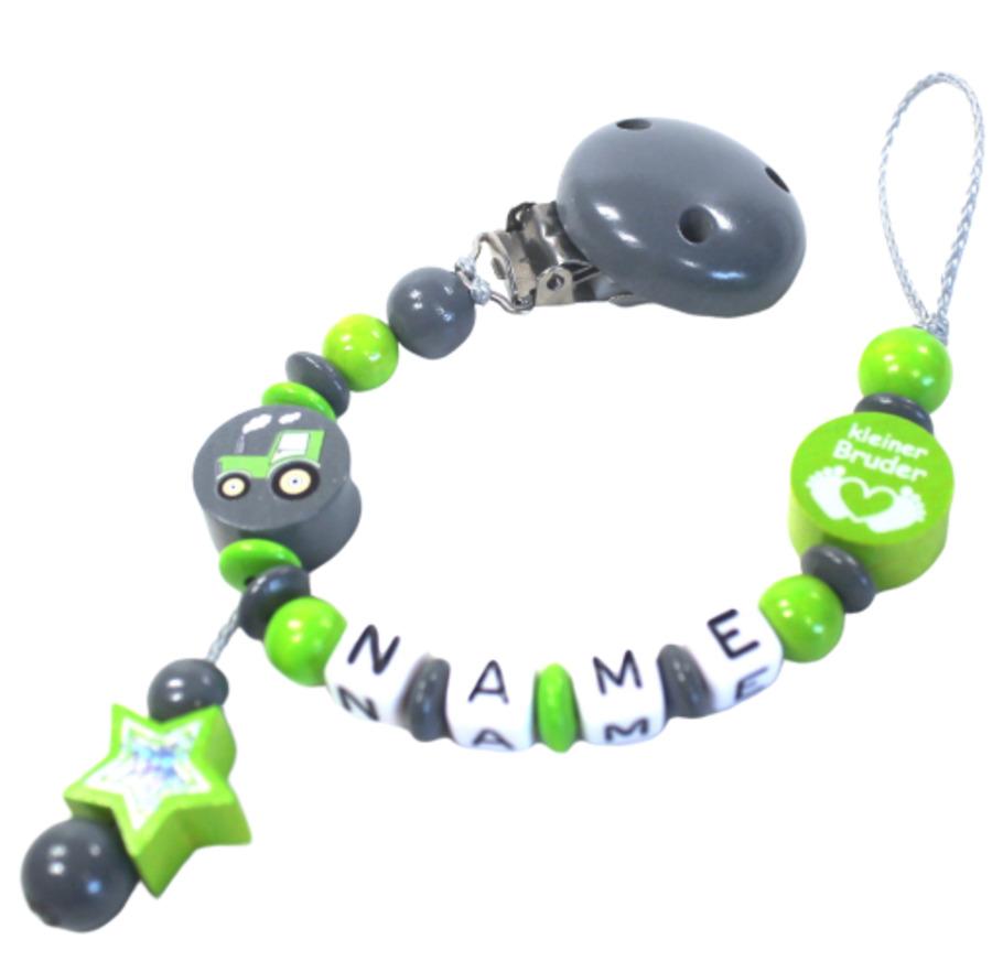 Schnullerkette mit Namen Traktor Bruder Junge grau grün personalisiert