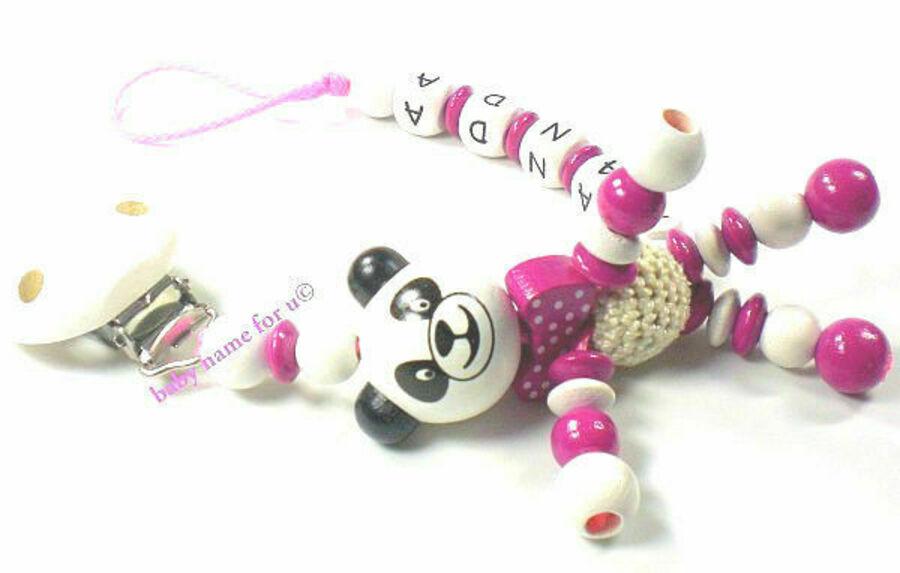 Schnullerkette mit Namen Panda mit Körper Mädchen pink personalisiert Baby Holz
