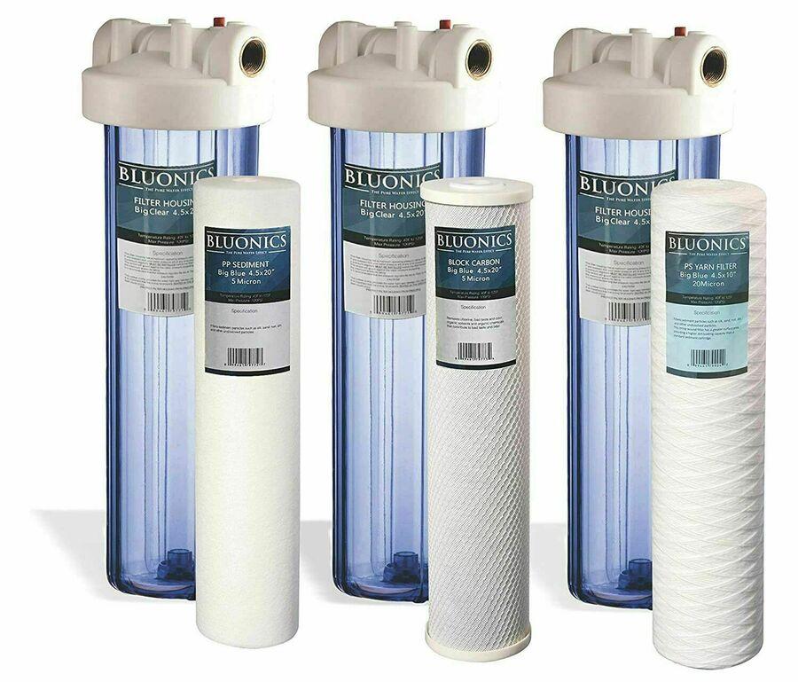 "BLUONICS Big Blue Carbon Block /& Sediment Water Filter 4pcs 4.5/"" x 10/"" Cartridge"