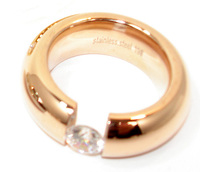 Edelstahlring Spannring Damen Ring 9mm silber rose gold Modern Zirkonia Steine
