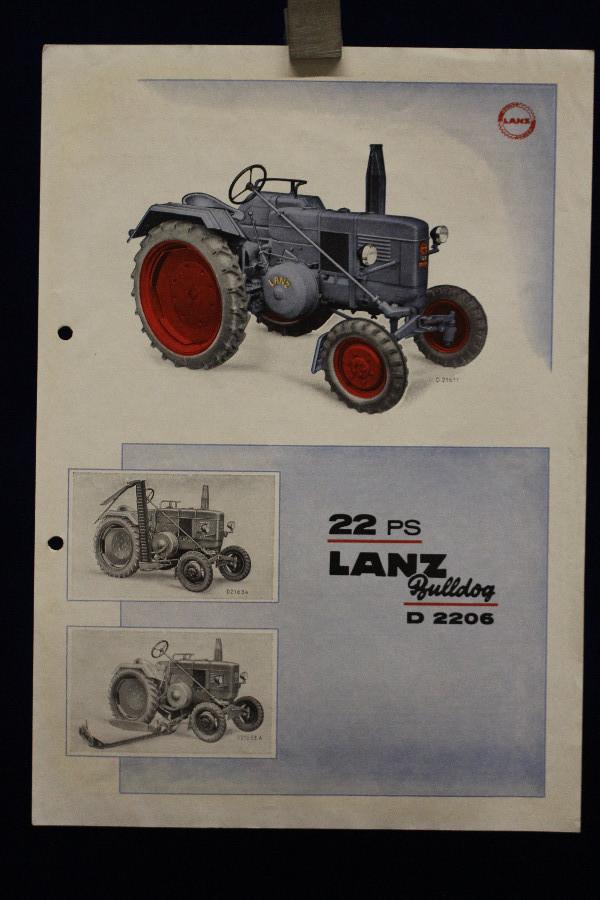 Lanz D 2206 Bullog 22 PS Prospekt 50er J.